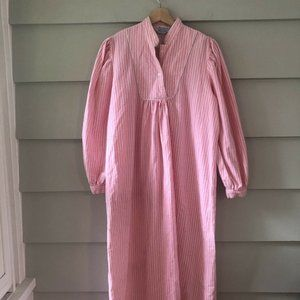 Vintage Pink White Striped M Flannel Nightgown M